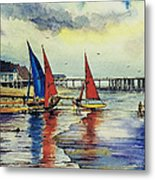 Sailing At Penarth Metal Print