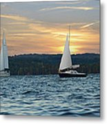 Sailing At Sunset Metal Print by Steven Michael