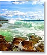 Sailing Beyond The Bay Metal Print
