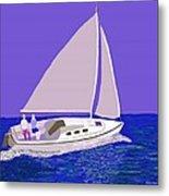 Sailing Blue Ocean Metal Print