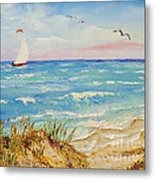 Sailing By The Beach Metal Print