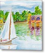 Sailing By The Bridge Metal Print