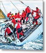 Sailing Crew On Sailboat During Regatta Metal Print