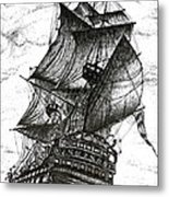 Sailing Drawing Pen And Ink In Black And White Metal Print by Mario Perez