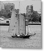 Sailing Free In Black And White Metal Print