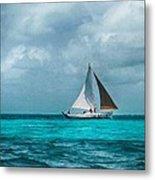 Sailing In Blue Belize Metal Print
