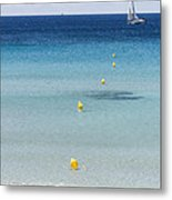 Son Bou Beach In South Coast Of Menorca Is A Turquoise Treasure - Sailing In Blue Metal Print