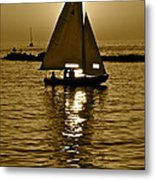Sailing In Sepia Metal Print