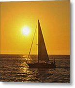 Sailing Into The Sunset Metal Print by Aged Pixel