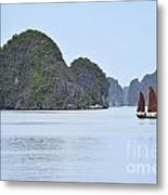 Sailing Junk Boats In Halong Bay Metal Print by Sami Sarkis