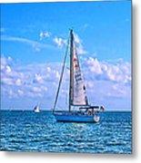 Sailing Off Of Key Largo Metal Print