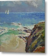 Sailing Off The Cove Metal Print by Michael Creese