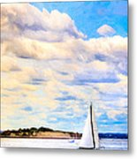 Sailing On A Beautiful Day In Boston Harbor Metal Print