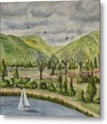 Sailing On A Cloudy Day Metal Print
