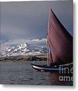 Sailing Boat On Lake Titicaca Metal Print