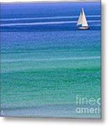Sailing On Turquoise Blue Water Metal Print