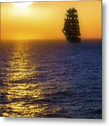 Sailing Out Of The Fog At Sunrise Metal Print
