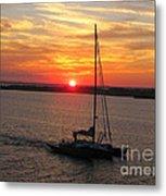 Sailing Past The Sunset Metal Print