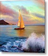 Sailing Past Waikiki Metal Print