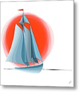 Sailing Red Sun Metal Print
