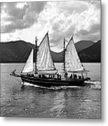 Sailing Ship Black And White Metal Print