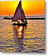 Sailing Silhouette Metal Print