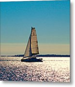 Sailing The Ocean Blue Metal Print