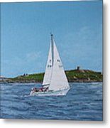 Sailing Through Dalkey Sound Metal Print