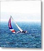 Sailing Vinyard Sound  Photo Art Metal Print