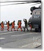 Sailors Board An Mh-53e Sea Dragon Metal Print