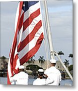 Sailors Hoist The American Flag Metal Print