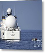 Sailors In A Rigid-hull Inflatable Metal Print