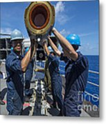 Sailors Load Rim-7 Sea Sparrow Missiles Metal Print