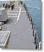 Sailors Man The Rails On Uss Mccampbell Metal Print