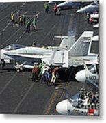 Sailors Push An Fa-18c Hornet Metal Print