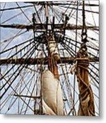 Sails Aboard The Hms Bounty Metal Print