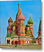 Saint Basil Cathedral In Red Square In Moscow- Russia Metal Print