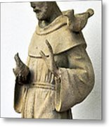 Saint Francis Of Assisi Statue With Birds Metal Print