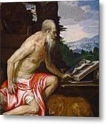 Saint Jerome In The Wilderness Metal Print