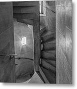 Saint John The Divine Spiral Stairs Bw Metal Print