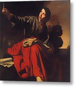 Saint John The Evangelist At Patmos Metal Print