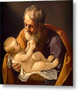 Saint Joseph And The Christ Child Metal Print