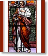 Saint Joseph  Stained Glass Window Metal Print by Rose Santuci-Sofranko