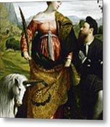 Saint Justina With The Unicorn Metal Print