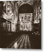 Saint Louis Cathedral New Orleans Black And White Metal Print