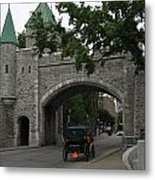 Saint Louis Gate In Ramparts Of Quebec City Metal Print