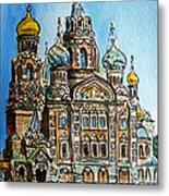 Saint Petersburg Russia The Church Of Our Savior On The Spilled Blood Metal Print by Irina Sztukowski