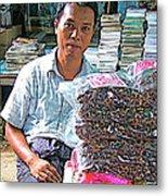 Salesman In The Marketplace In Tachilek-burma Metal Print