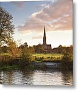 Salisbury Cathedral And The River Avon Metal Print