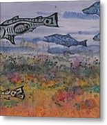 Salmon In The Stream Metal Print by Carolyn Doe
